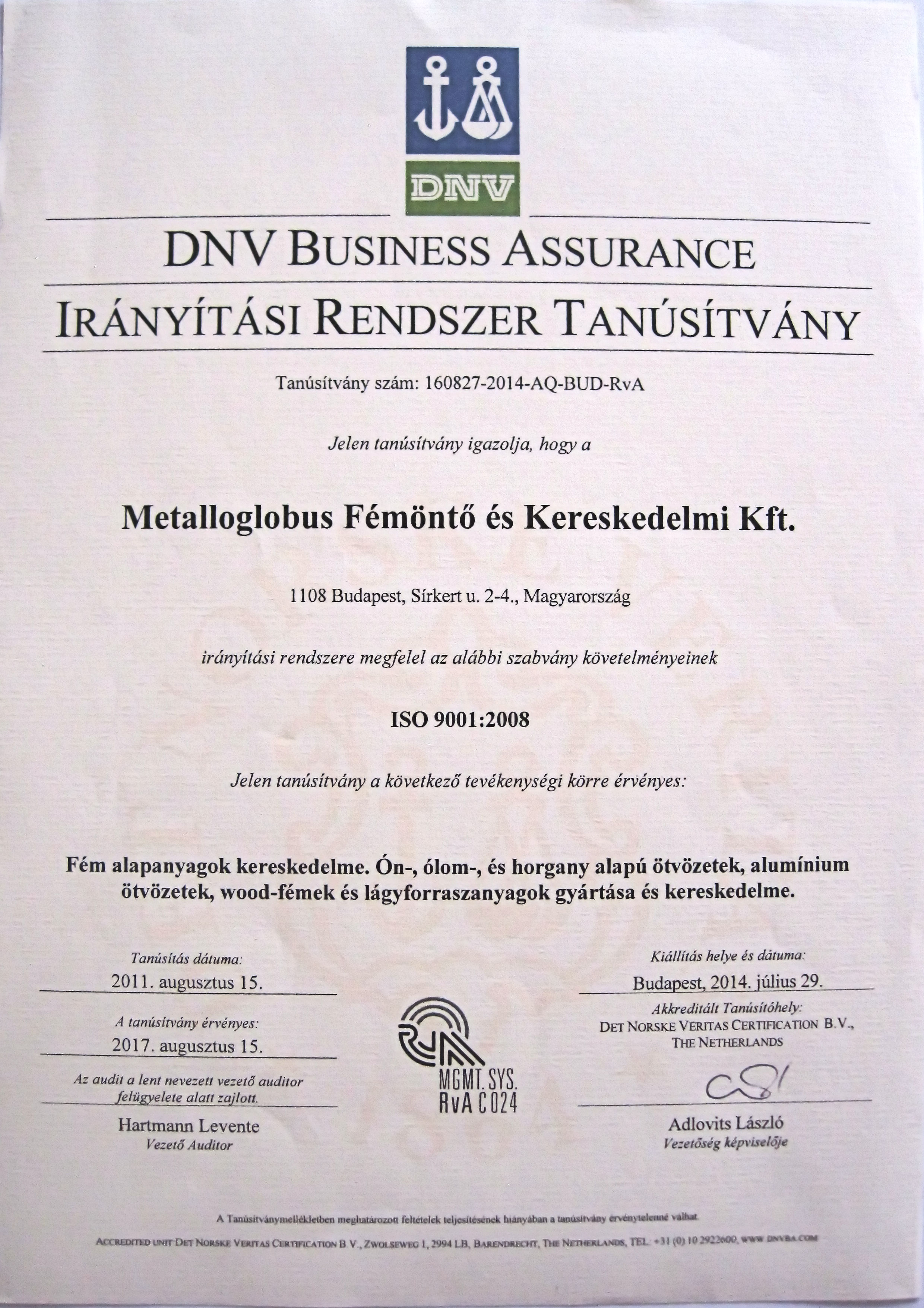 DNV ISO 9001_2008
