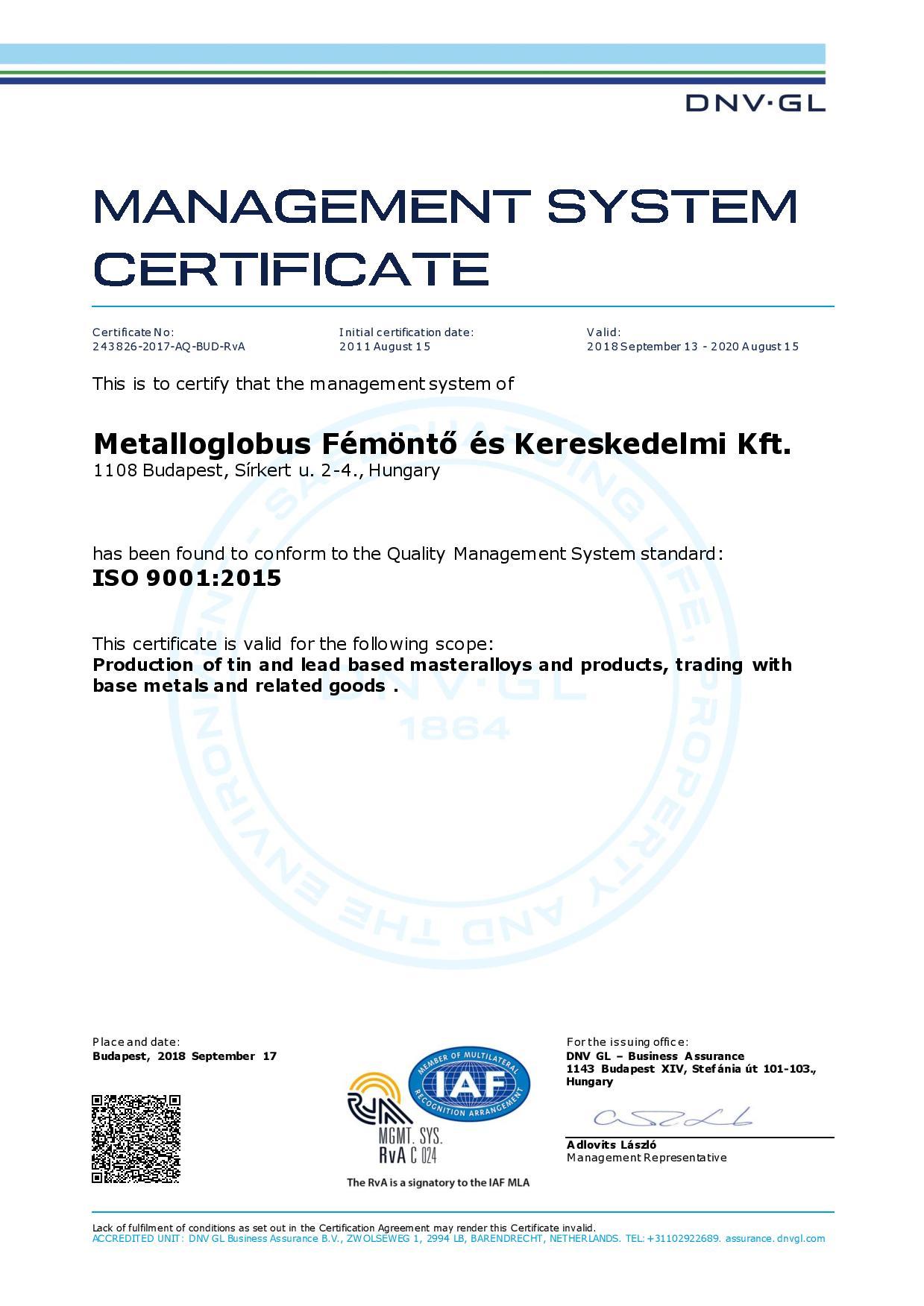 ISO Certificate Metalloglobus Femonto